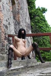 [HotKinkyJo] Huge toys insertion on the castle stairs